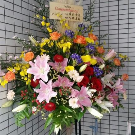 オープン祝のスタンド花
