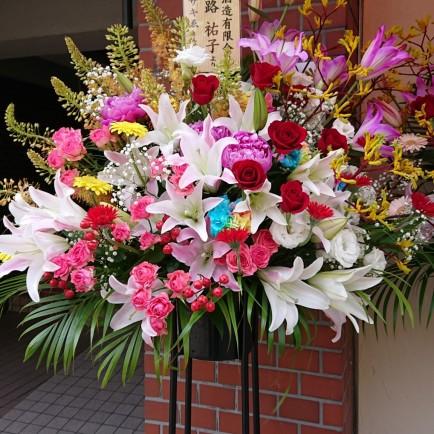 ラーメン店オープン祝いのスタンド花