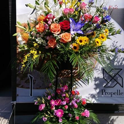 池田市のカレーうどん屋さんへの開店祝いのスタンド花