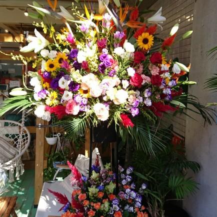 淀川区の美容室開店祝いのスタンド花