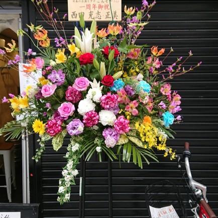 淀川区 十三東のダイニングバーへ周年御祝のスタンド花