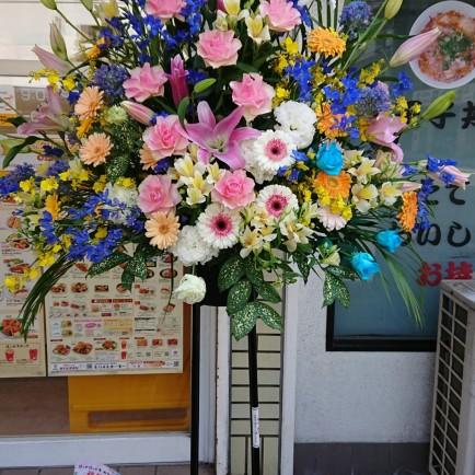 淀川区 西中島のお弁当屋さんへ開店お祝いのスタンド花